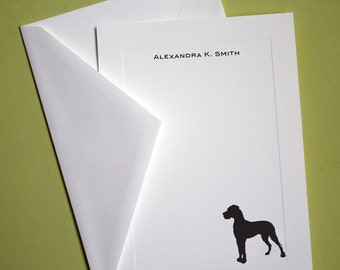 Great Dane Personalized Stationery - Set of 10 flat paneled cards