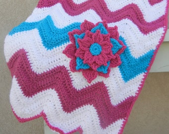 Chevron Baby Blanket Raspberry Pink and Dark Aqua Baby Shower Gift Ready to Ship