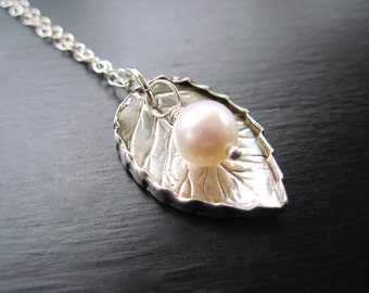 Fine Silver Leaf Necklace, Freshwater Pearl