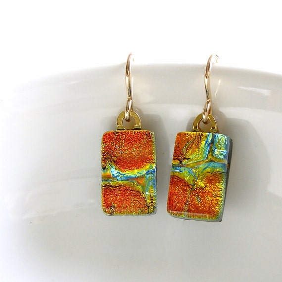 Orange Glass Earrings, Dichroic Jewelry, Gold Filled Wires