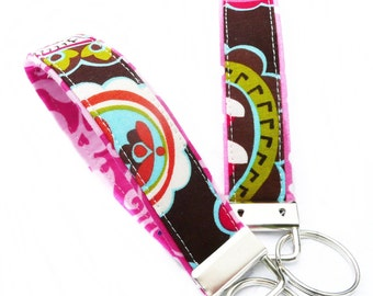 personalized keychain - Key Fob - WRISTLET - Key Chain - pink and brown