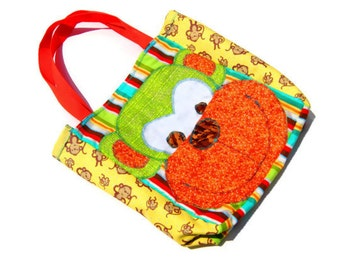 Personalized Monkey Tote Bag, Childrens Book Bag, Kids Travel Bag, Sleepover Bag, Car Organizer, On the Go Bag, Beach Bag with Many Pockets