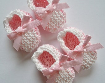 Baby girl shower decorations: TWO pairs of two tone little hand knit booties/ baby shoes - baby pink white - 2 inches - DECORATIONS ONLY