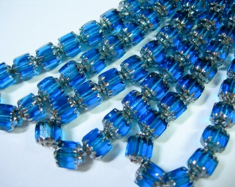 25 6mm Aqua with Silver Firepolished Cathedral Czech Glass Beads
