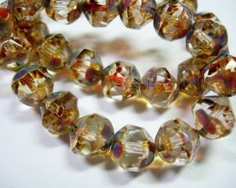 15 8mm Crystal Clear Picasso Firepolished Thru Cuts Czech Glass Beads