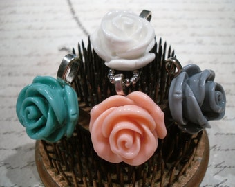 rose flower necklace ... you pick your color.. peach, gray, white or teal.. pretty little necklace