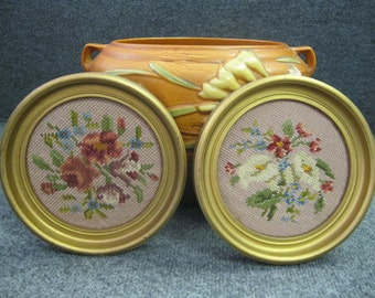 Two pieces of Vintage needlepointed flower wall hangers