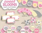 SWEET BLOOMS Baby Girl Shower Printable Package in Pink, Cream Yellow, and Gray- Editable Instant Download