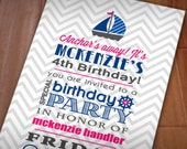 ANCHOR'S AWAY Birthday Printable Invitation in Pink and Navy