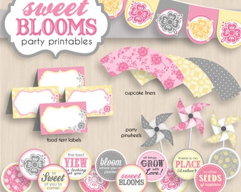SWEET BLOOMS Bridal Shower Printable Package in Pink, Cream Yellow, and Gray- Instant Editable Download
