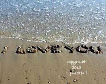 Beach Theme Photo Art- I LOVE YOU Romantic Sentiment, 5x7 Beach Photo with mat, beach stone word, coastal art, wedding gift, love letters