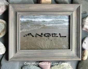 Beach Photography ANGEL 5x7 Photo- Stone Word Message in Sand, Grey Custom Stained Wood Frame, beach theme photo, baby gift, beach word art
