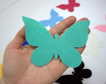 12 Pieces Die Cut - Large Felt Butterflies- Mixed Colors, Spring Easter Themes