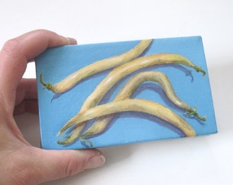 Small Acrylic Painting on Canvas, Kitchen Art, Original Mini Painting Food Art in Yellow and Blue