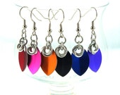 Small Scale Maille Earrings, Chainmaille and Aluminum Scales, Choose Your Color