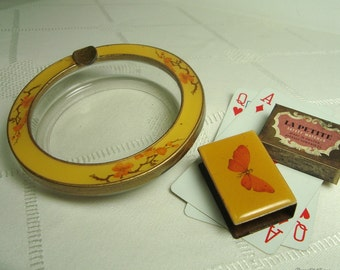 Glass Ashtray, Brass Matchbook Cover Yellow Orange Blossom Butterfly