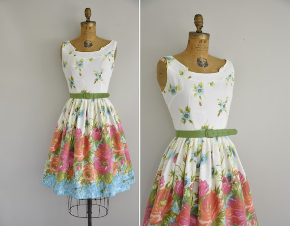 vintage 1950s dress / 50s floral tea party by simplicityisbliss