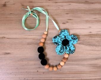 Elegant Teal Black Moms Nursing Necklace /  Breastfeeding Accessory