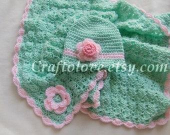 Crochet baby blanket- Crochet girl blanket - Baby Girl Shower Gift set - Mint/Pink Stroller/Travel Blanket and Flower Beanie