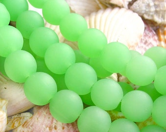 """8""""  SPRING green 10mm opaque round sea beach velvet glass beads matte frosted recycled"""