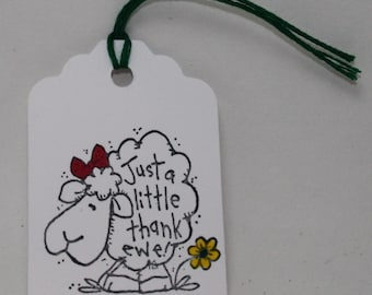 THANK EWE tags, for Etsy orders, set of 8 tags with fibre