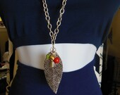 Long Silver Chain LEAF or LOCKET with Beads Necklace