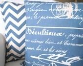 Denim Blue Chevron French Script Pillow Covers, Decorative Throw Pillows, Cushions Blue Cream Penmanship Zig Zag Chevron, Combo Set 16 x 16