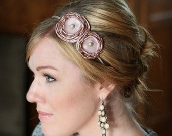 Rose Quartz and Gold Double Flower Headband