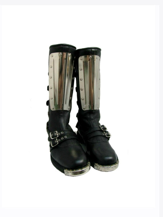 vintage mens gladiator motorcycle boots black leather