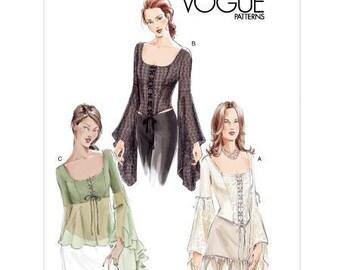 Sz 6/8/10 - Vogue Blouse Pattern 7733 - Misses' Medival Inspired Bustier Top in 3 Variations