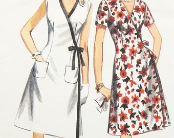 "Misses' A-Line Wrap Dress in Two Variations - SZ 12/Bust 32"" - Vintage 60s Dress Pattern - Butterick 3893"