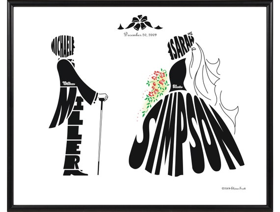 Personalized Wedding Silhouette Print of Bride and Groom, Framed Anniversary Name Art Decor