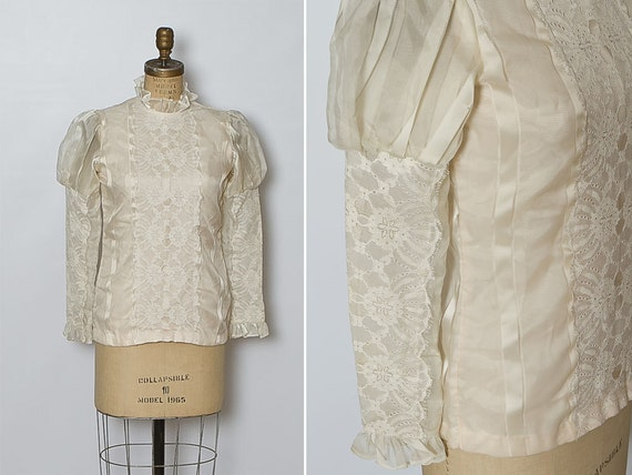 vintage 1960s ivory blouse