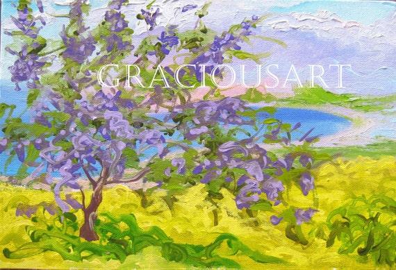 Jacaranda Painting Print 8x10 Bright Colors Yellow Purple