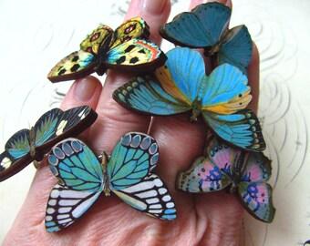 Wood, Butterfly, adjustable ring, wooden butterflies, butterfly ring,blue, by NewellsJewels on etsy