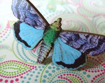 Lady of the Night, Moth, wooden, ring,adjustable, Purple and blue, by NewellsJewels on etsy