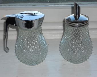 Vintage Pressed Glass Honey Pourer & Glass Pourer-NIB