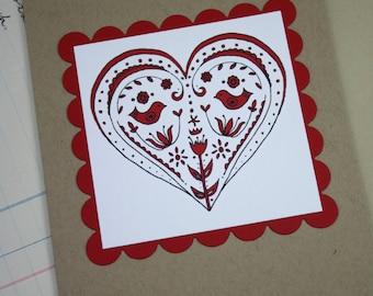 Valentines Folk Heart Red Scandinavian Nordic Style Handmade Greeting Card