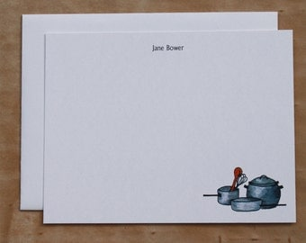 Batterie de Cuisine for Chef or Cook Custom Notecard. Thank You, Any Occasion, Personalize Watercolor Print, Set of 10.