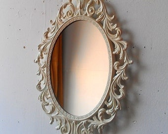 Oval Princess Mirror in Vintage Metal Filigree Frame,13 by 10 Inch Vintage White Frame, Shabby Chic Home or Wedding Decor