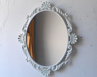 White Oval Mirror in Vintage Metal Frame - 15 x 13 inch