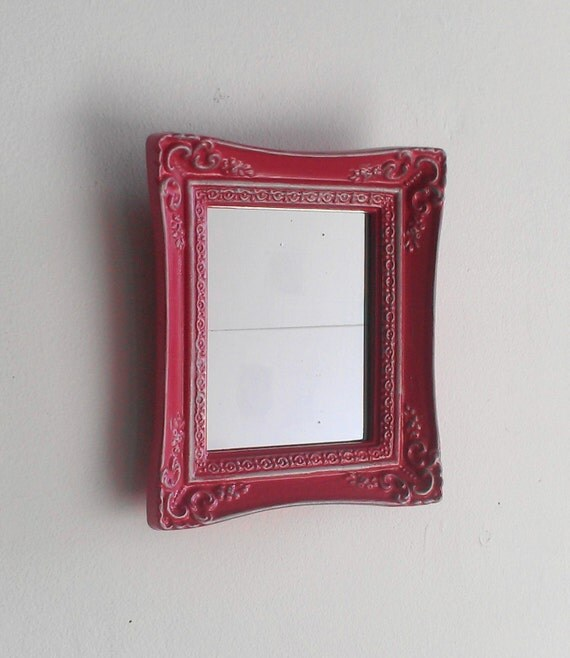 Small wall mirror in vintage baroque frame by for Plastic baroque mirror