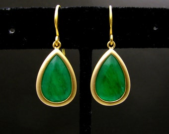 gold plated brass framed green jade teardrop with gold hook . - Free US shipping