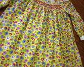 Girls yellow jumper dress 4T-5T kids vintage little smocked dress