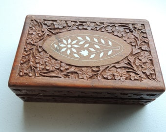 Fine Vintage Inlaid hand Carved Wood Document Jewelry Box India Blue Velvet Lining