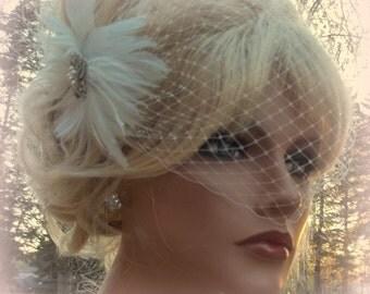 Bridal Fascinator, Birdcage Bridal Veil, Wedding Set, Wedding Hair Clip, Feather Hair Clip, Feather Fascinator, Wedding Veil, Fascinator
