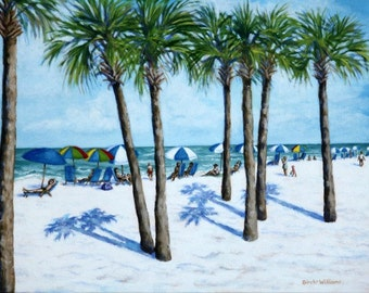 Clearwater Beach Landscape - 14x18 Original Acrylic Painting - People and Palm Trees - Sunny Day at the Beach