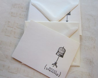 6 handmade cards with envelopes - MERCI BEAUCOUP with birdcage - vintage paper and envelopes