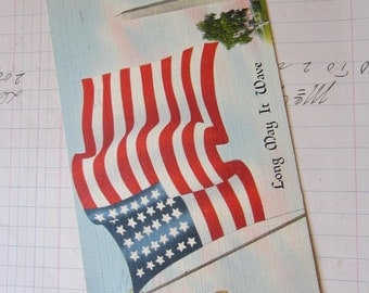 antique postcard - USA flag - Long May It Wave - 1942 postmark and 1 cent Industry Agriculture stamp