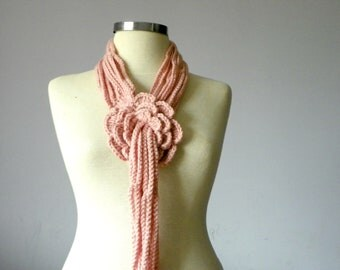 Crochet lariat scarf, handmade crochet flower neckwarmer autumn women accessories, powder pink winter - fall fashion